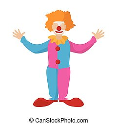 Funny clown cartoon on a white background