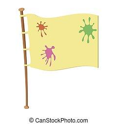 Team flag on wooden flagpole cartoon icon. Paintball flag...