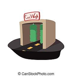 edificio, coche, lavado, caricatura, icono