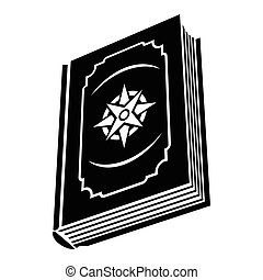 Book with eight-pointed star on the cover black simple icon...