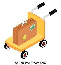 Trolley with brown suitcases isometric 3d icon on a white...