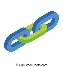 Chain link isometric 3d icon