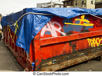 Dumpster - Enviromental concept Dumpster full of waste on...