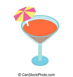 Cocktail with umbrella isometric 3d icon