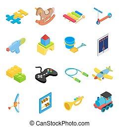 Toys isometric 3d icons set isolated on white background