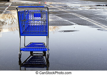 Shopping cart - Lonely shopping cart on the empty parking...