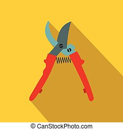 Secateurs plane icon with shadow on yellow background