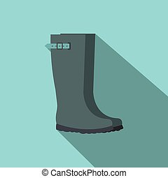 Grey rubber boots flat icon on a blue background