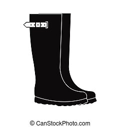 Rubber boots black simple icon on a white background