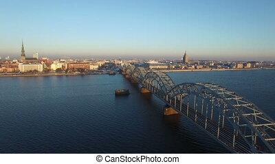 Railway bridge over Daugava river, aerial view