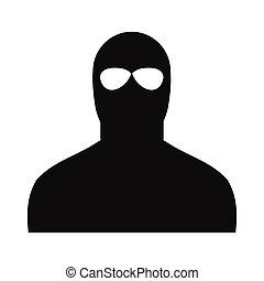 Man in a mask black simple icon on a white background