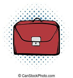 Brown business briefcase comics icon