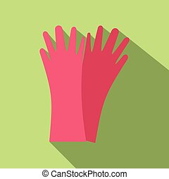 Red rubber gloves flat icon on a green background