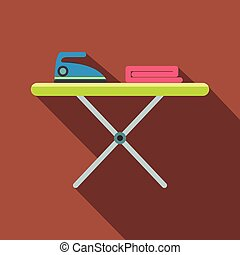 Ironing board with iron flat icon on a brown background
