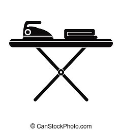 Ironing board with iron black simple icon isolated on white...