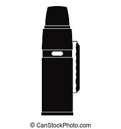 Thermos flask black simple icon isolated on white background