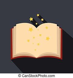 Magic book of spells open flat