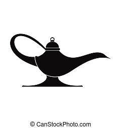 Middle east oil lamp black simple icon isolated on white...