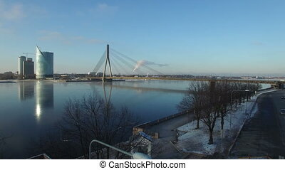 Aerial view of Riga river and Vansu Bridge, Latvia