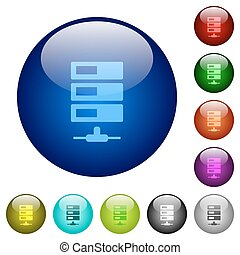Color data network glass buttons - Set of color data network...