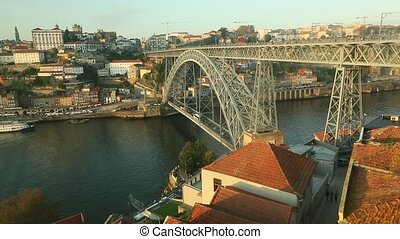 Dom Luis I Bridge at Ribeira in Porto, Douro river and Old...