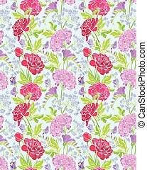 Seamless pattern with Realistic graphic flowers - peony and...