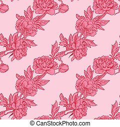Seamless pattern with Realistic graphic flowers - peony - hand drawn background in pink colors.