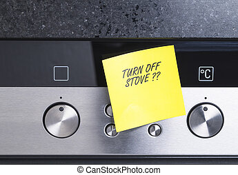 Turn off stove - Image shows an notification at an electric...
