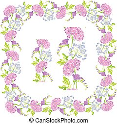 Set of ornaments - decorative hand drawn floral border and frame with sweet pea and gardenia flowers, isolated on white background.