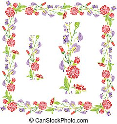 Set of ornaments - decorative hand drawn floral border and frame with sweet pea and clove flowers, isolated on white background.