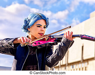 Music street performers with girl violinist - Beautiful...