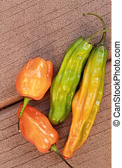 2 habaneros and other peppers - These are 2 habaneros and...