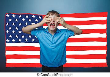 niño, bandera, norteamericano, estados unidos de américa