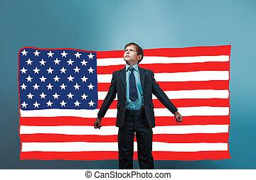 niño, estilo, norteamericano, bandera, empresa / negocio