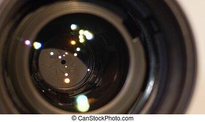 Diaphragm of a camera lens aperture, close up, open, macro -...