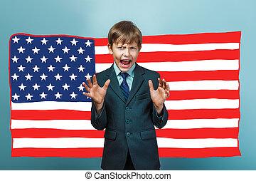 niño, bandera, estridente, norteamericano