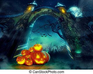 Helloween pumpkins - Heap of Halloween pumpkins at spooky...