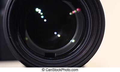 Camera zoom lens, glare, close up - Camera zoom out lens,...