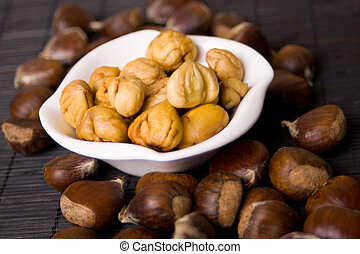 Chestnut fruit in a bowl - Cooked chestnut served as snack...
