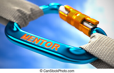 Blue Carabiner Hook with Text Mentor - White Ropes Connected...
