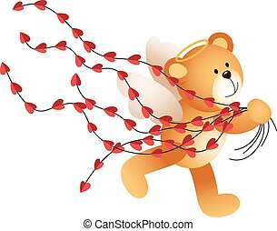Cupid teddy bear running with heart