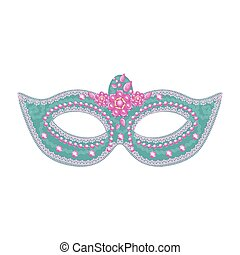 vector female carnival mask with sequins, lace and flowers