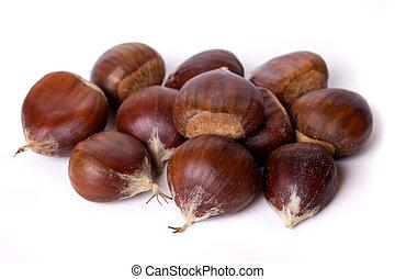Chestnut fruit isolated on white - Pile of chestnut fruit...
