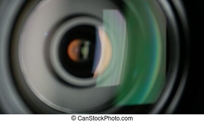 Video camera lens, dynamic change of focus, close up - Black...