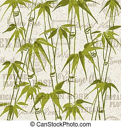 The Bamboo pattern - Green Bamboo with leaves pattern over...