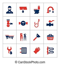 Set color icons of plumbing isolated on white. Vector...