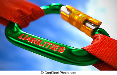 Green Carabiner Hook with Text Liabilities - Red Ropes...