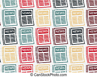 News concept: Newspaper icons on wall background - News...