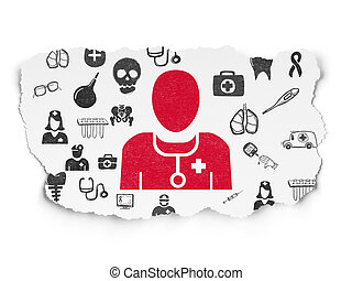 Medicine concept: Doctor on Torn Paper background