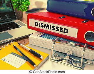 Red Office Folder with Inscription Dismissed. - Red Office...